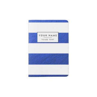 Elegant White Stripes Blue Foil Printed Passport Holder