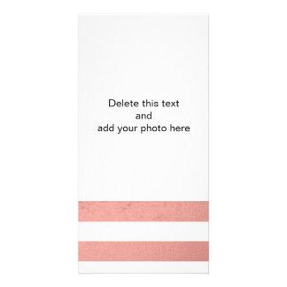 Elegant White Stripes Coral Pink Foil Printed Card