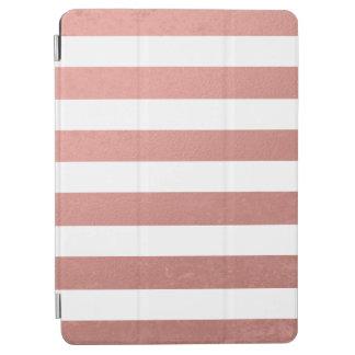 Elegant White Stripes Coral Pink Foil Printed iPad Air Cover