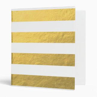 Elegant White Stripes Gold Foil Printed 3 Ring Binder