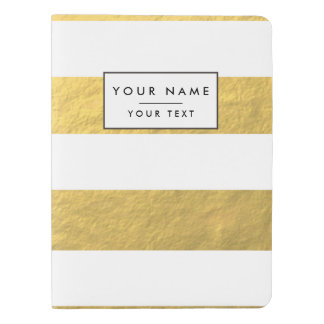 Elegant White Stripes Gold Foil Printed Extra Large Moleskine Notebook Cover With Notebook
