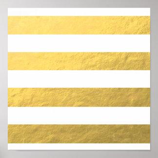Elegant White Stripes Gold Foil Printed Poster