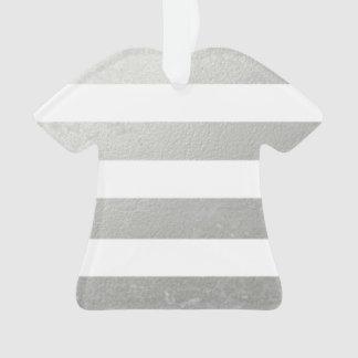 Elegant White Stripes Silver Foil Printed