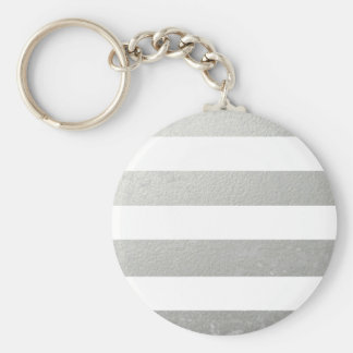 Elegant White Stripes Silver Foil Printed Basic Round Button Keychain