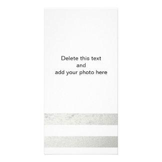 Elegant White Stripes Silver Foil Printed Card