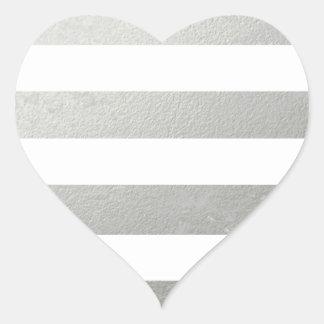 Elegant White Stripes Silver Foil Printed Heart Sticker