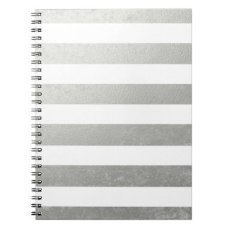 Elegant White Stripes Silver Foil Printed Notebook