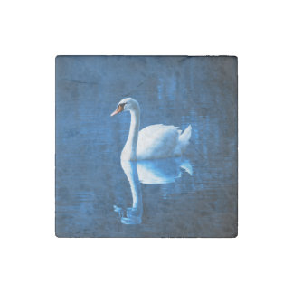 Elegant White Swan Calm Blue Lake Stone Magnet