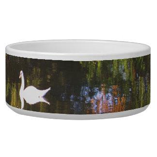 Elegant  White Swan on Lake - Nature Photography Bowl