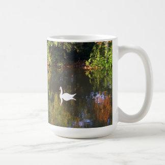 Elegant  White Swan on Lake - Nature Photography Coffee Mug