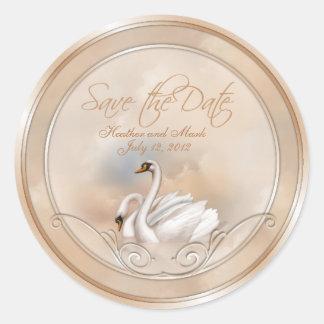 Elegant White Swan Save The Date Wedding Stickers