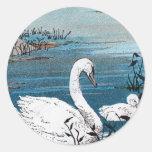 Elegant White Swan With Baby Round Sticker