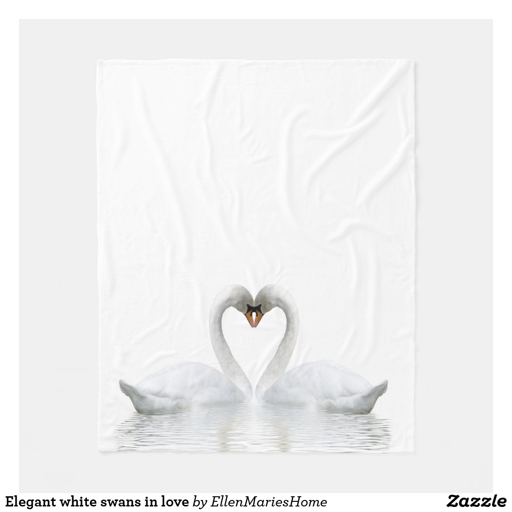 Elegant white swans in love fleece blanket