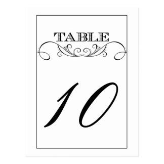 Elegant White Swirl Wedding Table Number Cards Postcard