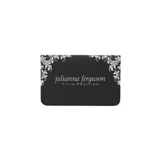 Elegant White Swirls Black Background Business Card Holder