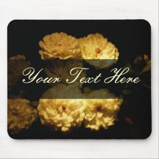 """Elegant White Tea Roses """"Add Your Own Text"""" Mouse Pad"""