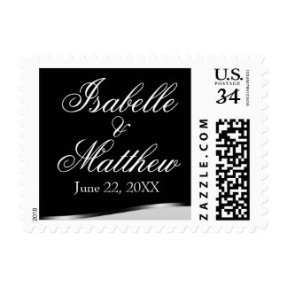 Elegant White Text on Black Wedding Postage