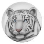 Elegant White Tiger Plate