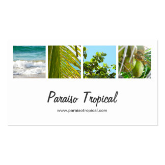 Elegant White Tropical Photo Collage Business Card
