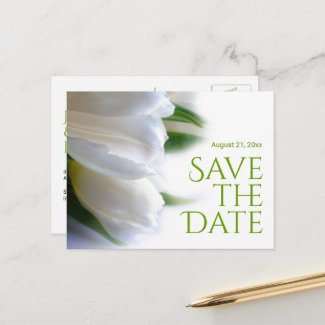 Elegant White Tulips Save the Date Announcement Postcard