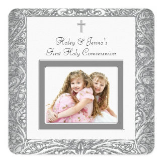 Elegant White Twin First Communion Card