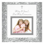 Elegant White Twins Photo First Communion Announcements
