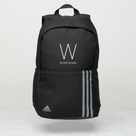 Elegant white typography monogram name adidas backpack