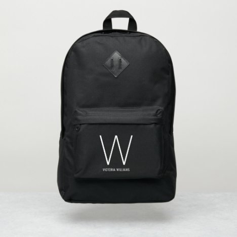 Elegant white typography monogram name port authority® backpack