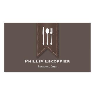 Elegant White Utensil Chef Caterer Business Card