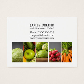 Elegant White Vegetables Nutrition Chef Business Card