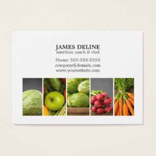 Nutrition business cards templates zazzle elegant white vegetables nutrition chef business card reheart Image collections