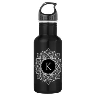 Elegant White Vintage Floral Lace Circle Stainless Steel Water Bottle