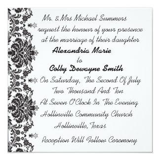 Elegant White w/ Black Figleaf Wedding Invitations