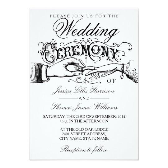 Elegant White Wedding Ceremony Invitations