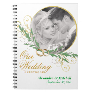 Elegant White Wedding Guestbook with Custom Photo Spiral Notebook