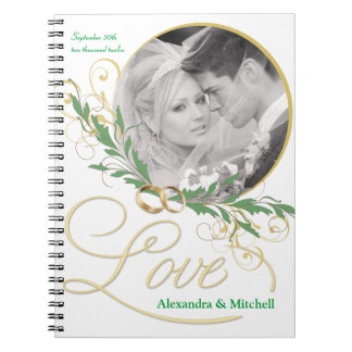 Elegant White Wedding Journal with Custom Photo