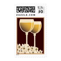 Elegant White Wine & Flower Blossom Postage