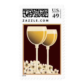 Elegant White Wine Flower Blossom Postage