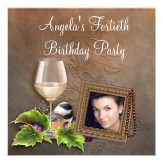 Elegant White Wine Womans Photo Birthday Party Custom Invites