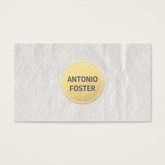 Elegant White Wrinkled Paper Gold Circle Designer Business Card