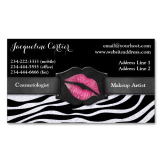 Elegant White Zebra Glitter Kiss Cosmetologist Business Card Magnet