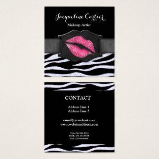 Elegant White Zebra Glitter Kiss Cosmetologist Square Business Card