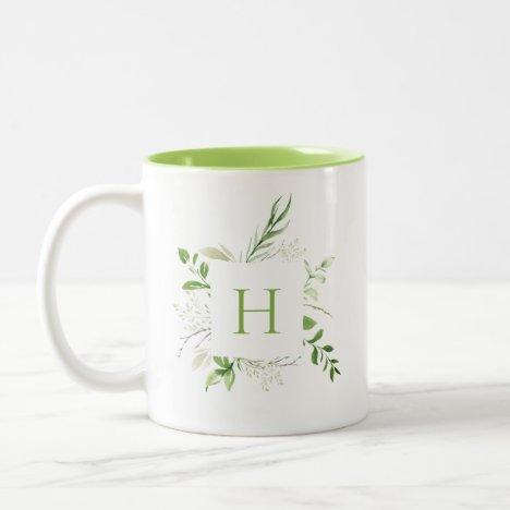 Elegant Wild Botanical Monogram Two-Tone Coffee Mug