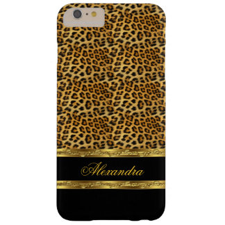 Elegant Wild Leopard Black and Gold Barely There iPhone 6 Plus Case