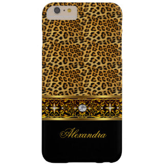Elegant Wild Leopard Black and Gold Jewel Barely There iPhone 6 Plus Case