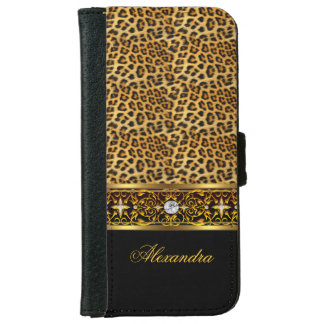Elegant Wild Leopard Black Gold Jewel iPhone 6/6s Wallet Case