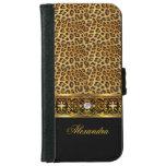Elegant Wild Leopard Black Gold Jewel iPhone 6 Wallet Case