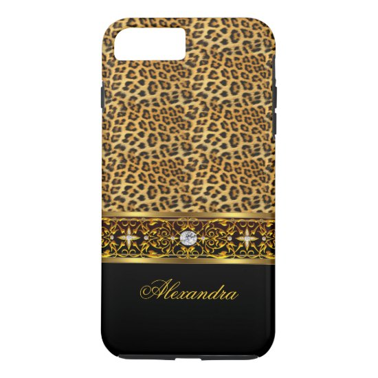 Elegant Wild Leopard Black Gold Jewel Tough iPhone 7 Plus Case