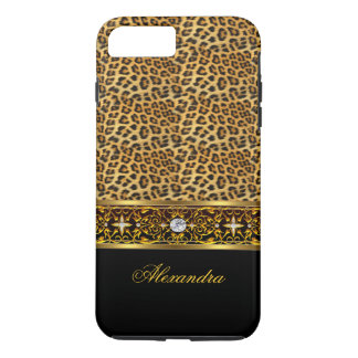 Elegant Wild Leopard Black Gold Jewel Tough iPhone 8 Plus/7 Plus Case