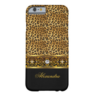 Elegant Wild Leopard Black Gold Jewel Trim Barely There iPhone 6 Case